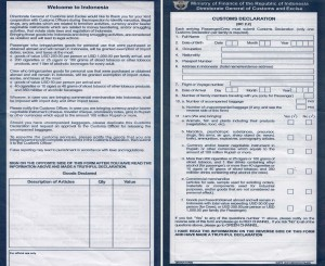 Indonesia Customs Form