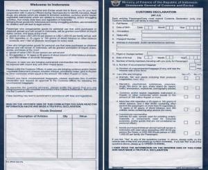 Indonesia Customs Form